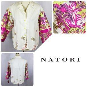 Designer Josie Natori Happy Temple Top Pink White